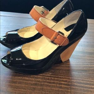 Max Studio Size 9 1/2 black Patent Leather Heels